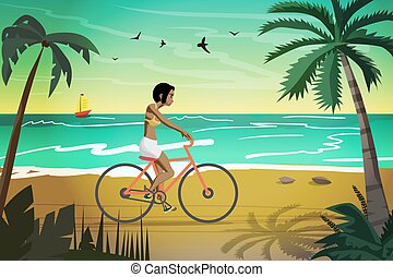 Young afro woman rides red bike on summer beach at sunset. Vector flat illustration