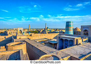 Khiva old town, Uzbekistan - View over Khiva old town with...