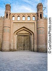 Old door in Khiva old town, Uzbekistan