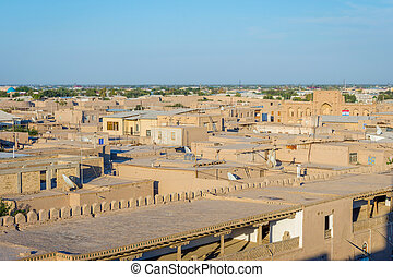 Rooftops in Khiva, Uzbekistan - View over mud houses and...