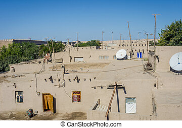 Khiva old town, Uzbekistan - View over mud houses and...