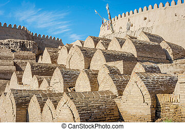 Old cemetery, Khiva, Uzbekistan - Old cemetery at the city...