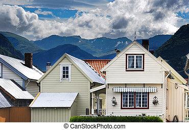 Vik- norvegian village - Village in Norvegian fjords