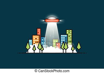 Ufo ray - UFO with gravitational abducting rays flying in...