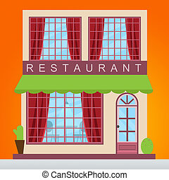 Restaurant Dinner Showing Gourment Food 3d Illustration -...