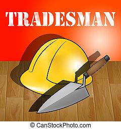 Building Tradesman Represents Home Improvement 3d...