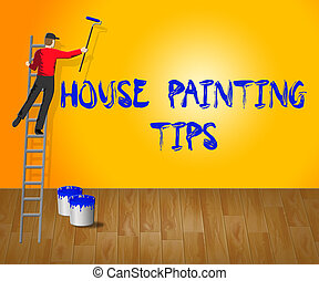 House Painting Tips Shows House Paint 3d Illustration -...