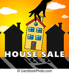House Sale Means Sell Property 3d Illustration