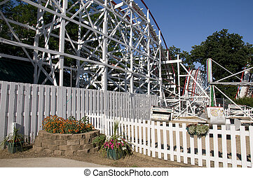 Roller-coaster at Amusement Park in Iowa.