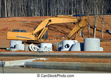 Construction equipment at a job site - Heavy machinery...