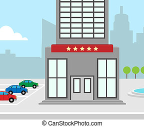 Hotel Vacation Meaning City Accomodation 3d Illustration -...