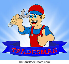 Building Tradesman Displays Home Improvement 3d Illustration...