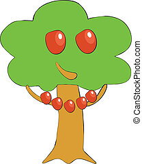 Apple tree smile color 01 - Vector Apple tree smile in color...