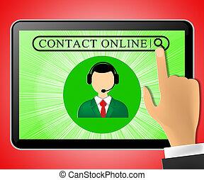 顧客, タブレット, サービス, イラスト, 連絡, オンラインで, 表すこと, 3D