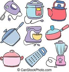 Doodle of kitchen set design art