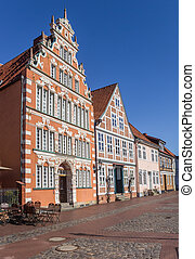 Former mayor's house at a cobblestoned street in Stade,...