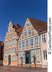 Historical houses at the quay of the old harbor of Stade,...