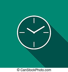 Clock icon with long shadow. Vector illustration