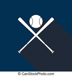 Crossed baseball bats and ball icon with long shadow.