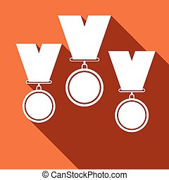 Set of medal icons with long shadow.