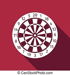 Classic Darts Board with Twenty Black and White Sectors icon with long shadow.