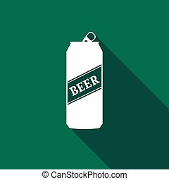 Beer Can Icon with long shadow. Vector Illustration