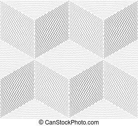 Seamless geometric op art pattern. 3D illusion. Zigzag lines...