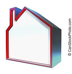 Blank House Shows Home Copyspace 3d Rendering
