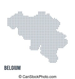 Vector dotted map of Belgium isolated on white background .