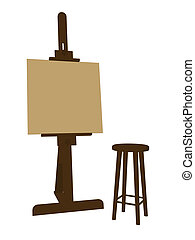 Artists Easel - Blank canvas on an artist easel with a stool...