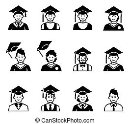 University students graduation avatar. Girl and boy...