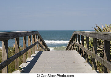 Boardwalk to Beach at Cape Canaveral National Seashore.