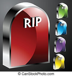 Tombstone Buttons - An image of 3d tombstone buttons