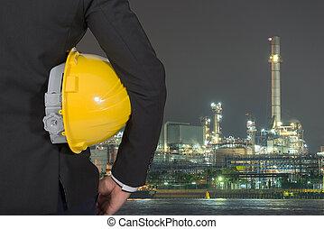 casque, huile, tenue, Ouvriers, jaune, raffinerie, sécurité, fond, ingénieur