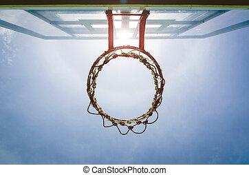 Basketball backboard below the net