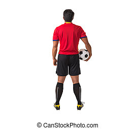 player holding soccer ball on white background with clipping path