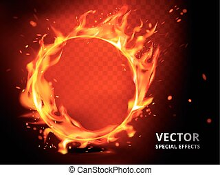 flaming hoop special effect - flaming hoop element that can...