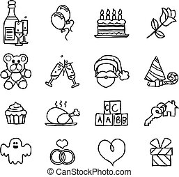 Celebration Holiday or Gift Hand Drawn Icon Set