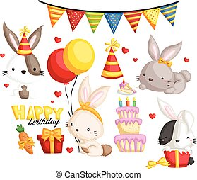birthday bunny - bithday bunny vector set and collection