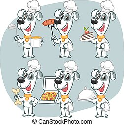 Set Characters Dog Chef Holding Various Objects