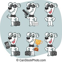 Set Characters Dog Businessman Holding Suitcase Cup Phone Gun