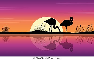 Collection of flamingo on lake scene silhouettes