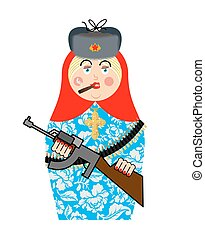 Military Matrioshka with gun. New Russian folk Nested doll....