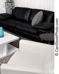 Modern two-coloured fabric couch