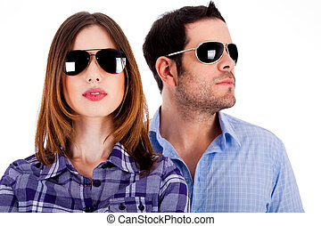 stylish couple wearing sunglasses - closeup of young man and...