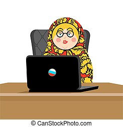 Russian hacker. Matryoshka and laptop. IP technology in...
