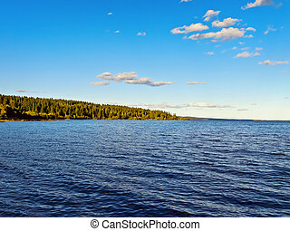 lak and forest - lake with forest over blue cloudy sky