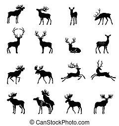 Deer collection - vector silhouette. - Elk Icon. Deer...