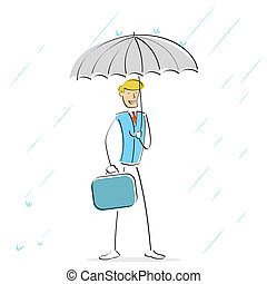 image of vector man holding umbrella in rainy day
