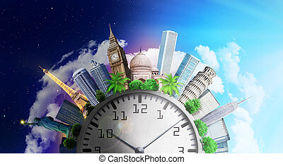 Travel concept. Time zones. World attractions around clock...